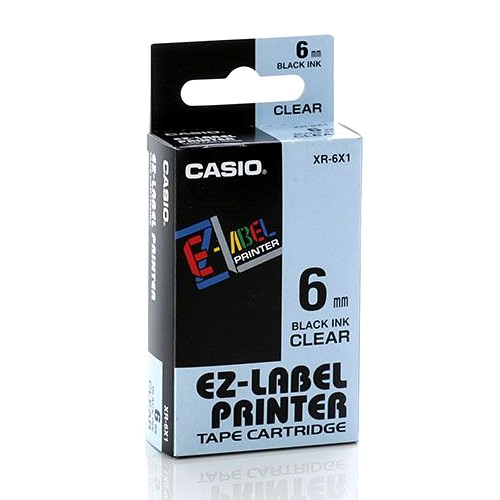 Casio Color Tape 6mm XR-6X1 - Clear
