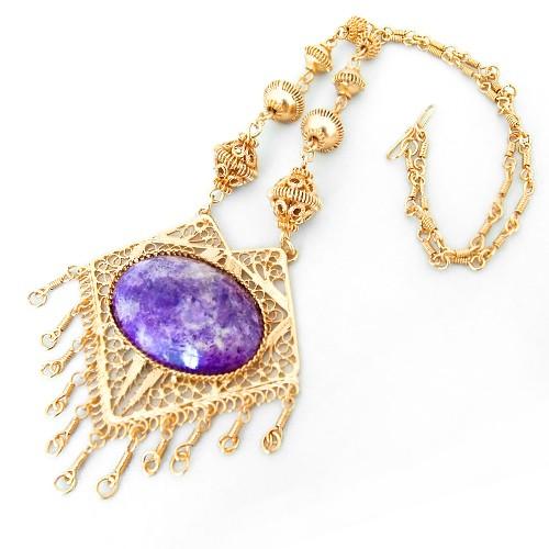 Kalung Kuningan Batu - Purple