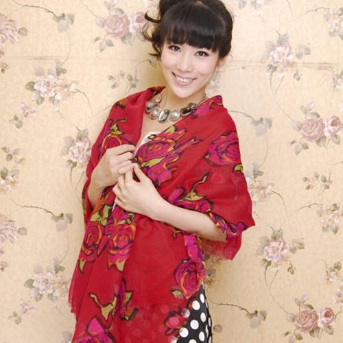 Scarf / Syal Fashion Pink Rose - Red