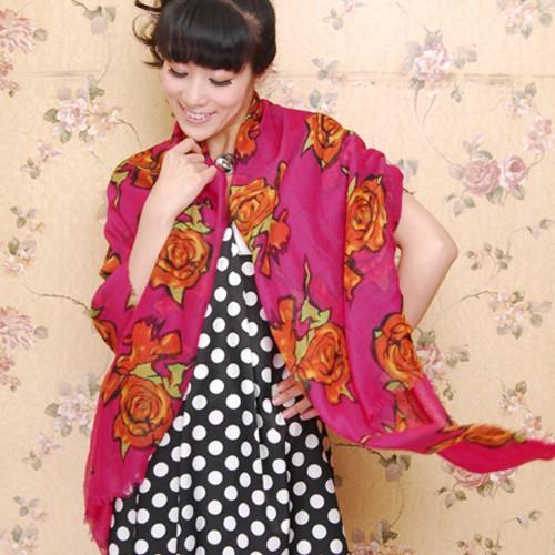Scarf / Syal Fashion Red Rose - Fuschia