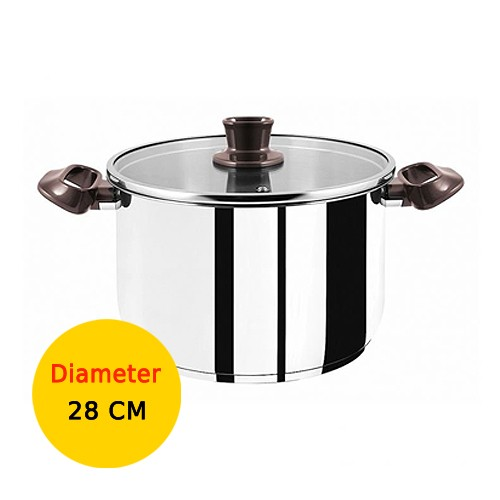 Tefal Panci Tasty Stainless Steel Stockpot With Lid - 28 cm