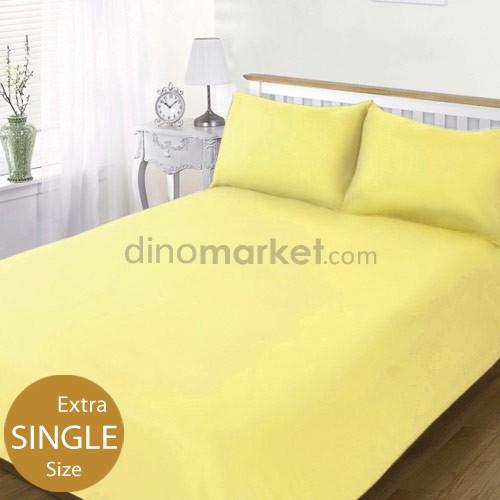 DinoChoice Bed Sheet Plain (Extra Single Size) - Light Yellow