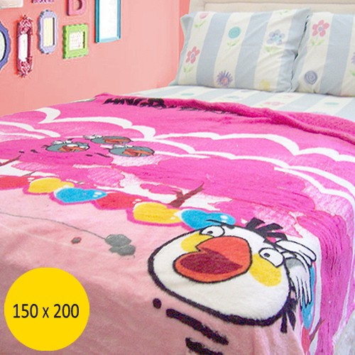 Selimut Platinum Angry Birds (150x200) Tebal - Pink