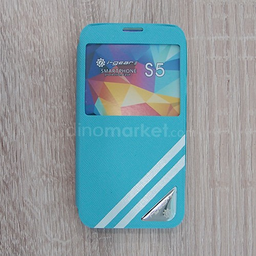 Strip Flip Case for Samsung Galaxy S5 - Blue