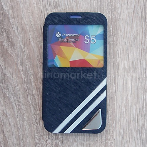 Strip Flip Case for Samsung Galaxy S5 - Dark Blue