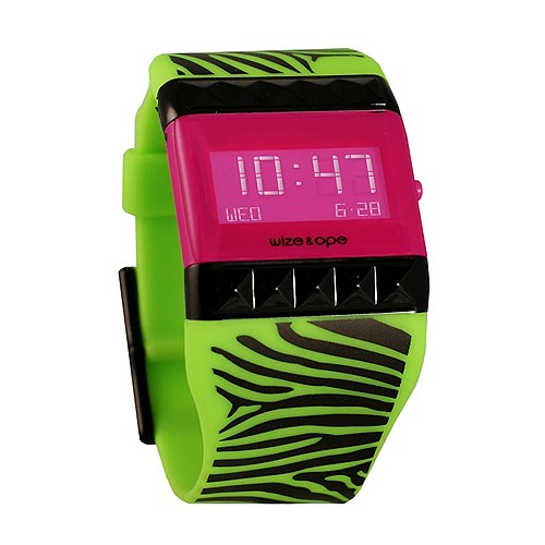 Jam Tangan Wize&Ope WO-SAF-2 - Green Strap/Red Slide/Pink Screen Dial