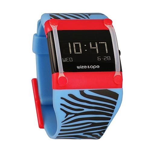 Jam Tangan Wize&Ope WO-SAF-1 - Blue Strap/Red Slide/Black Screen Dial