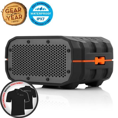 Braven Portable Bluetooth Speaker Waterproof BRV-1 - Black Orange Relief/Gray Grill | FREE Polo Shirt*