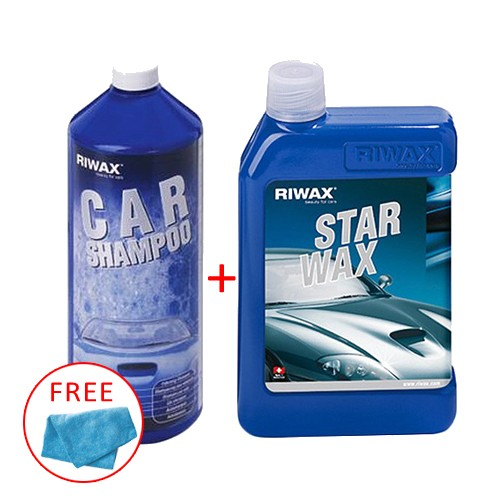 Riwax Car Shampoo 1000ml + Riwax Star Wax 500ml Free Microfiber