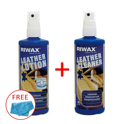 Riwax Leather Cleaner 200 ml + Riwax Leather Lotion 200ml Free Microfiber