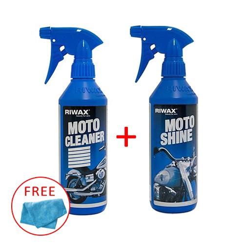 Riwax Moto Shine 500ml + Riwax Moto Cleaner 500ml Free Microfiber