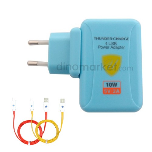 Charger 4port PU880 + Kabel Micro USB 2pcs - Biru