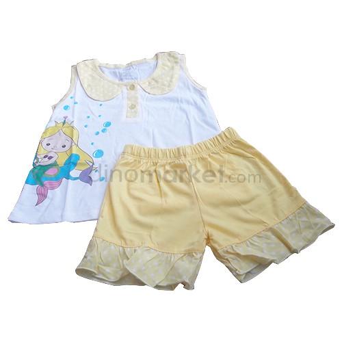 House Of MC Baju Tidur Anak Sea Horse Setelan Pendek Size 10 - Yellow