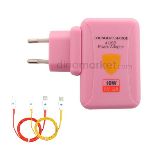 Charger 4port PU880   Kabel Micro USB 2pcs - Pink