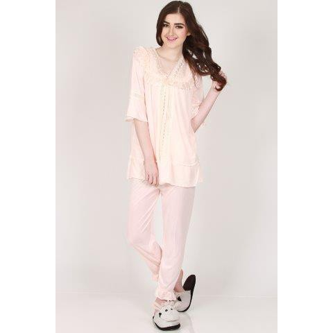 You've Baju Tidur Aleana Lace Sleepwear Set - Peach