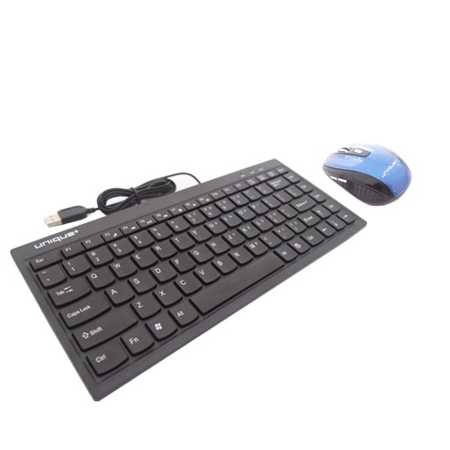 Mini Keyboard Chocolate V2 + Unique Simply Wireless Mouse Series WM-U-SS03 - Blue