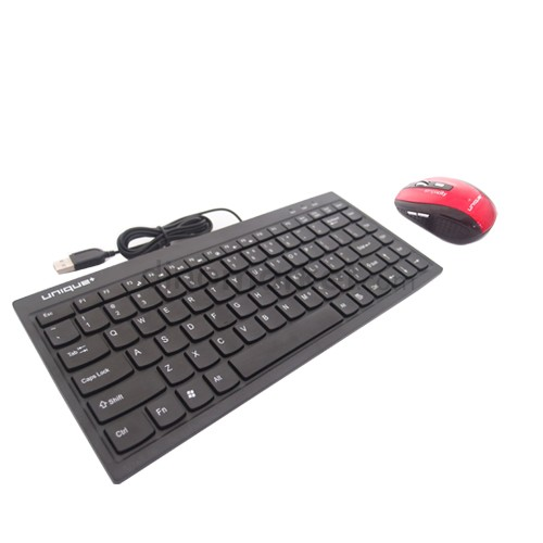 Mini Keyboard Chocolate V2 + Unique Simply Wireless Mouse WM-U-SS03 - Red