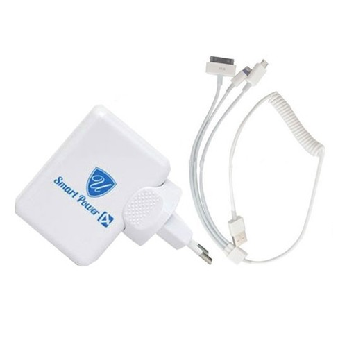 Charger USB Home 4-Port (PU881) - White + Kabel Spiral 3 in 1