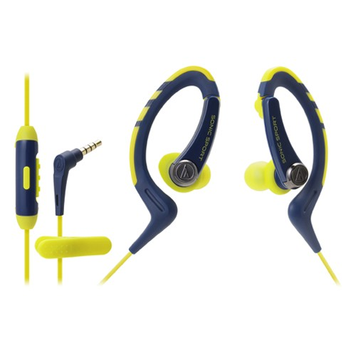 Audio Technica In-ear headphone with In-line Mic ATH-SPORT1iS - Navy Yellow