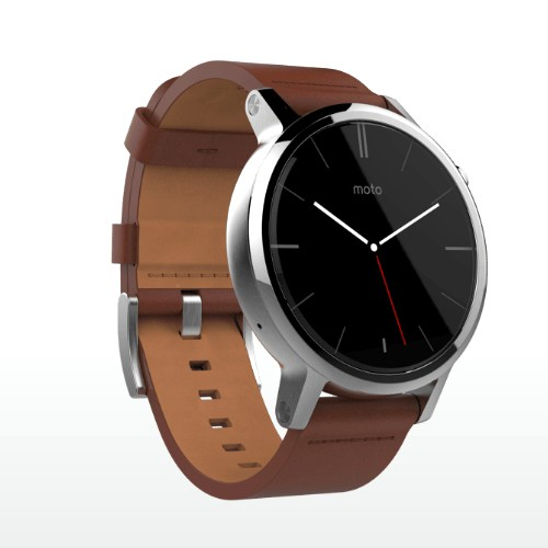 Moto 360 (2nd Gen) 46mm Silver Case with Cognac Leather Band