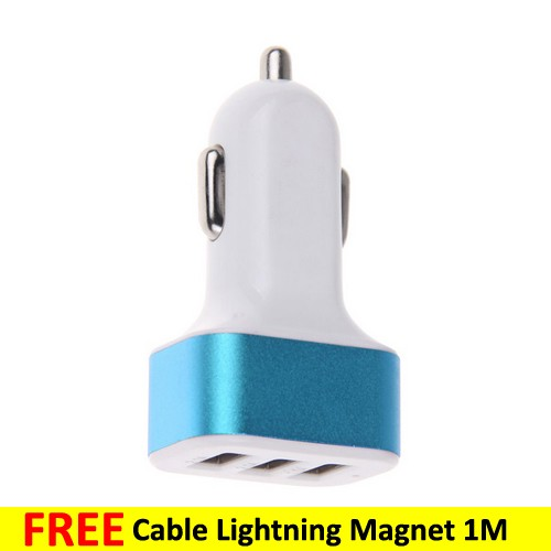 Car Charger 3 Port PU723 + Lightning Magnetic Cable 1M - Blue