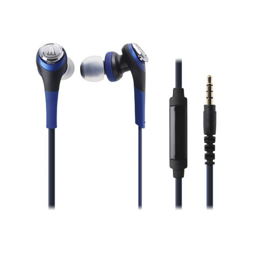 Audio Technica In-ear Headphones with In-line Mic ATH-CKS550iS - Blue