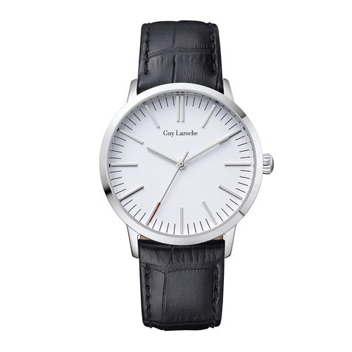 Guy Laroche Jam Tangan Far East Lady SS White Dial Black Leather L2004-01