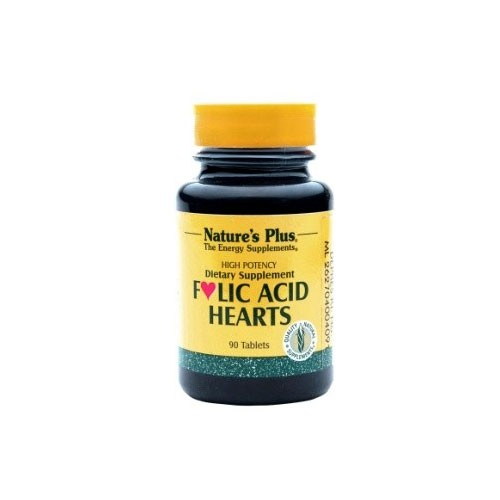 Natures Plus Folic Acid Hearts - 90 Tablets