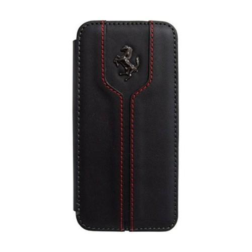 Ferrari Real Leather Flapcase Booktype For IPHONE 5/5S/5C - FEMTFLBKPMBL - Black