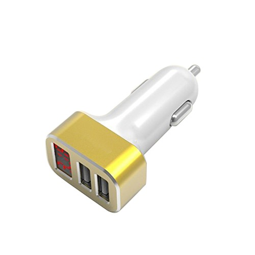 Car Charger USB 2-Port With LED ES-15S - Gold White