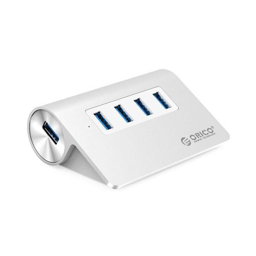 Orico Aluminum 4 Port USB3.0 Hub for Smartphones, Tablets, Laptops, Desktops, and Apple Devices M3H4-V1 - Silver