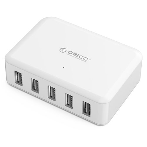 Orico 5 Port USB Smart Charging Station with Intelligent Charging IC DCAP-5S - White