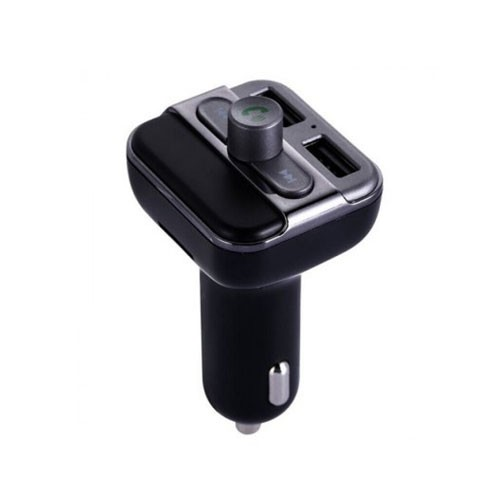 Bluetooth Car Dual USB Charger MP3 WMA Audio Transmitter with Hands-free Call BT20 - Black