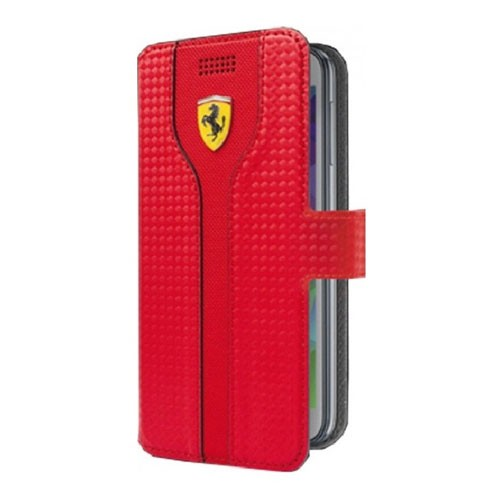 Ferrari Racing Red Carbon PU Leather Black Trim Universal Booktype Case Extra Large Size - FEST2BKXLRE