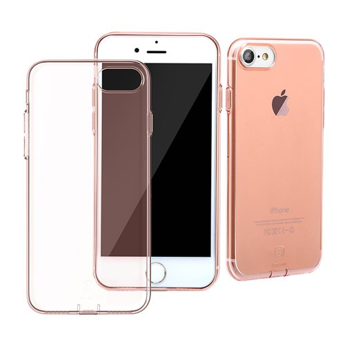 Baseus Simple Series Case for iPhone 7 (With-Pluggy) - Transparent Rose Gold