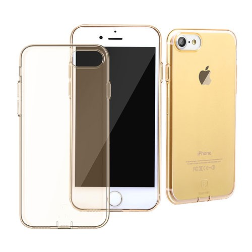Baseus Simple Series Case for iPhone 7 (With-Pluggy) - Transparent Gold