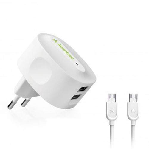 Avantree Wall Charger Kit 2.1 Amp with Micro USB Cable 1m & 2m  CGST-19 - White