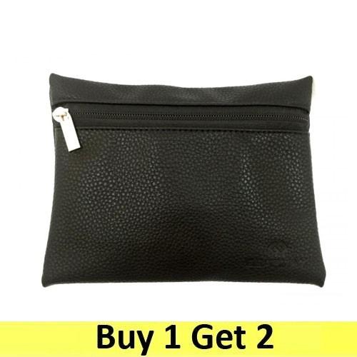 Gearmax Multi-purpose Pouch Side Zipper Synthetic Leather - Black (2 pc)