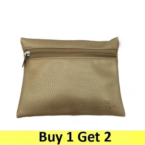 Gearmax Multi-purpose Pouch Side Zipper Synthetic Leather - Gold (2 pc)