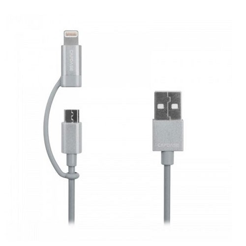 Capdase Posh 2in1 USB & Lightning 1.2m Sync & Charge HC00-P10S - Silver