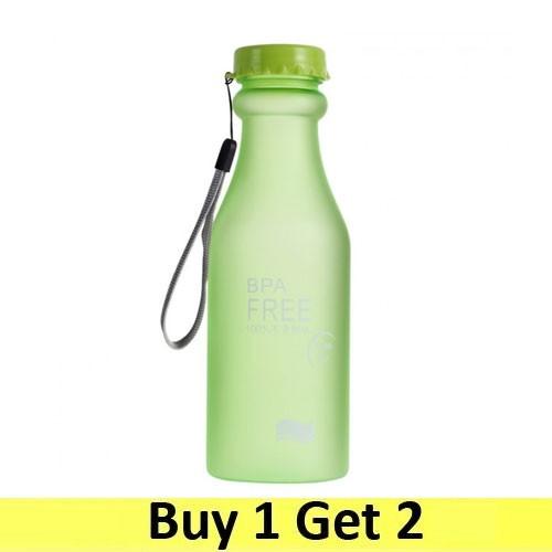 Colorful BPA Free Sport Water Bottle 550ml - Green (2 pc)