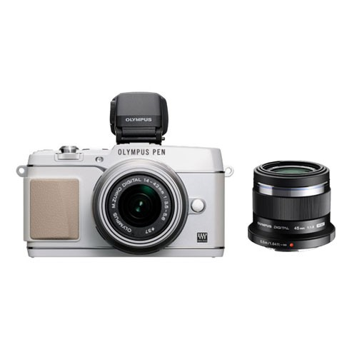 Olympus PEN E-P5 Mirrorless Digital Camera 17mm with 45 mm f/1.8 Lens & VF-4 Viewfinder - White