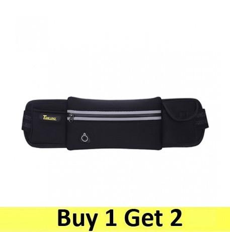 Running Belt Waist Sport Sweatproof for Smartphone Grid Model - Grid Model - Black (2 pc)