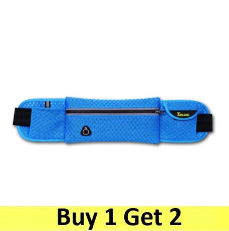 Running Belt Waist Sport Sweatproof for Smartphone Grid Model - Blue (2 pc)