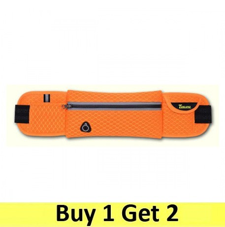Running Belt Waist Sport Sweatproof for Smartphone Grid Model - Orange (2 pc)