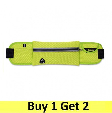 Running Belt Waist Sport Sweatproof for Smartphone Grid Model - Green (2 pc)
