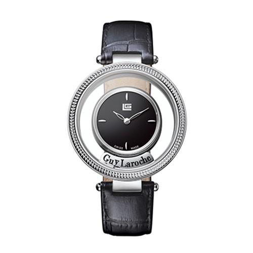 Guy Laroche Swiss Lady SS Black Dial Black Leather SL5004-01