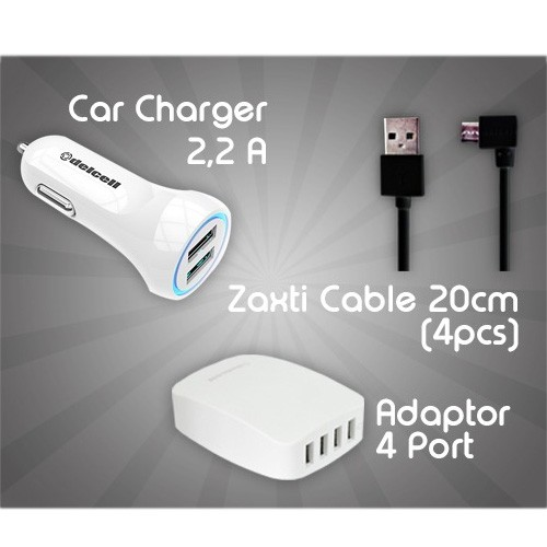Travel Charger Package (Delcell Adaptor 4 Port - White + Delcell Car Charger 2.2A - White + Kabel Zaxti 20cm (4 pcs Warna Random)