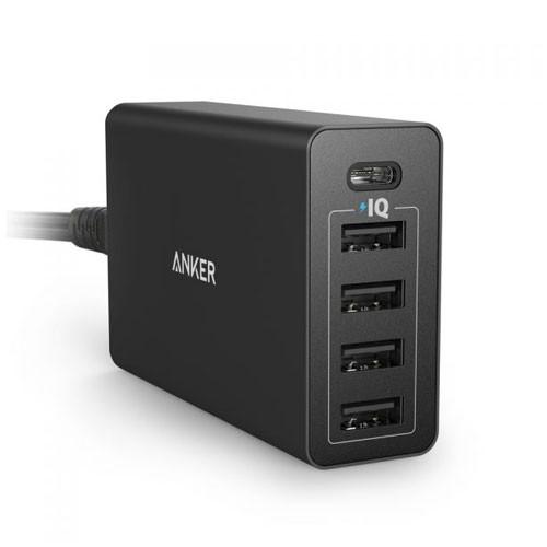 Anker PowerPort 5 40W 5-Port USB Charger for EU Offline Packaging V4 A2124L12 - Black