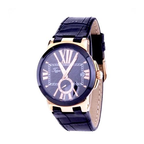 Teiwe Icon Jam Tangan Pria TW6013B-B - Rose Gold Black Dial Black Leather